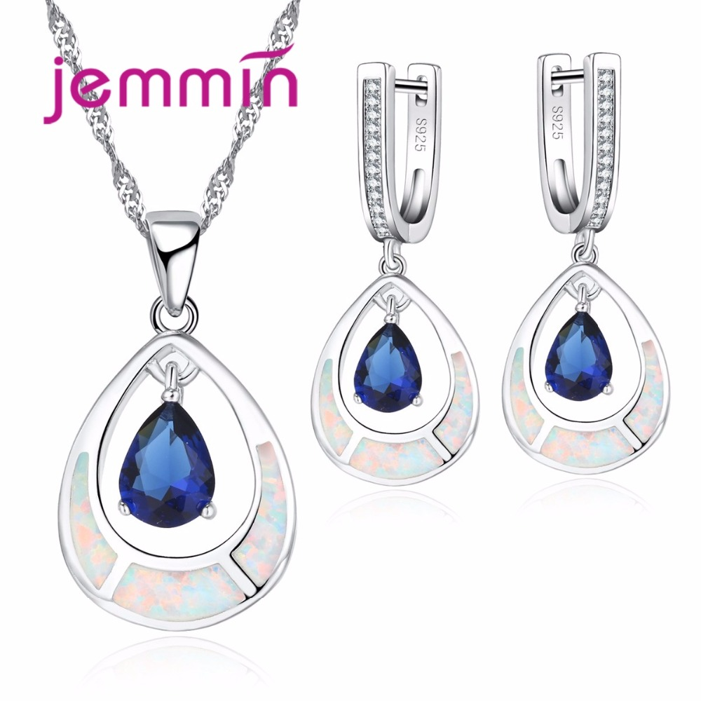 Jemmin Water Drop White Opal 925 Sterling Silver Bridal Jewelry Sets with Blue CZ Stone For Women Necklace Pendant Drop Earrings eiolzj white oval fire opal stone 925 sterling silver clip earrings for women bridal fashion jewelry free gift box three colors