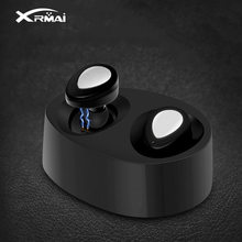 Xrmai Wireless Binaural Bluetooth Earphones With Charger Box Mini miniature In-Ear Bluetooth Headset Stereo Music For Phones(China)