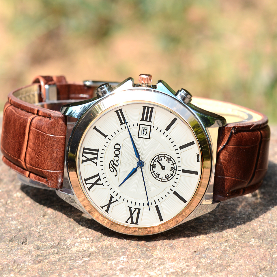 Fashion Men Watch ROOD Casual Watches Men Top Brand Luxury Waterproof Leather Men Wristwatches Quartz Watch reloj hombre xc e2ad2pt2da xinje xc series xc plc extension module have in stock fast shipping