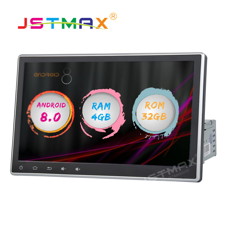 JSTMAX 10.1 Android 8.0 Car GPS Radio Player for Universal 1 din car radio dvd Octa Core 4GB+32GB Stereo Multimedia DAB+ image