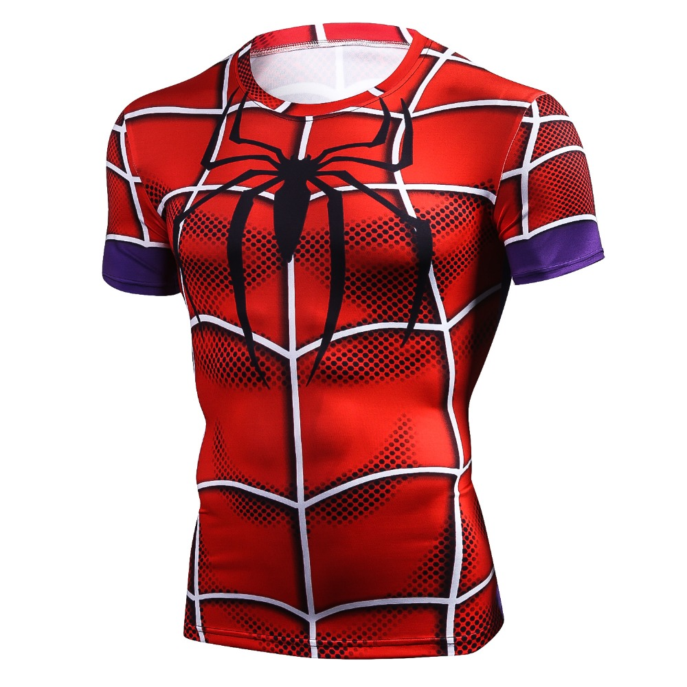 New 3D Spiderman Batman Tops Men T Shirt Compression Funny Tees Male Crossfit Boy Camisetas Short Sleeve T-shirt