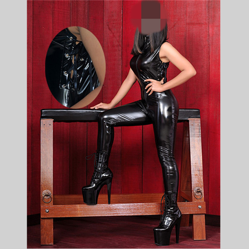 Black Sexy Stripper Clothes Catwomen Sex Women Latex Vinyl -6962
