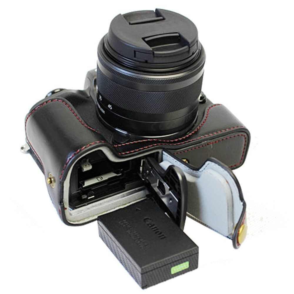 9 в 1 Аксессуары половина тела кожаный чехол + фильтр + бленда объектива + Стекло ЖК-дисплей протектор для цифровой однообъективной зеркальной камеры Canon EOS M50 с составляет 15-45 рабочих дней мм объектив Камера