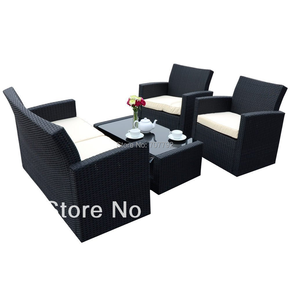 Black Wicker Sofa Laguna 2pc All Weather Wicker Patio Storage Sofa Coffee Table Thesofa