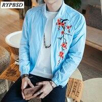 Çin Tarzı Yaz Erkekler Gevşek Ceket Moda Ejderha Çiçek Nakış Ince Rüzgarlık Bombardıman Ceket Erkek Güneş Koruyucu Giysi 5XL