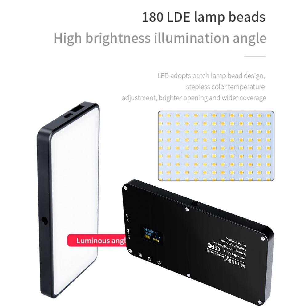 Image 5 - Manbily MFL 06 Vlog Photography Lighting 180 LEDs 4500mAh Dimmable LED Video Light  Fill Lighting for Nikon Sony DSLR Cameras-in Photo Studio Accessories from Consumer Electronics