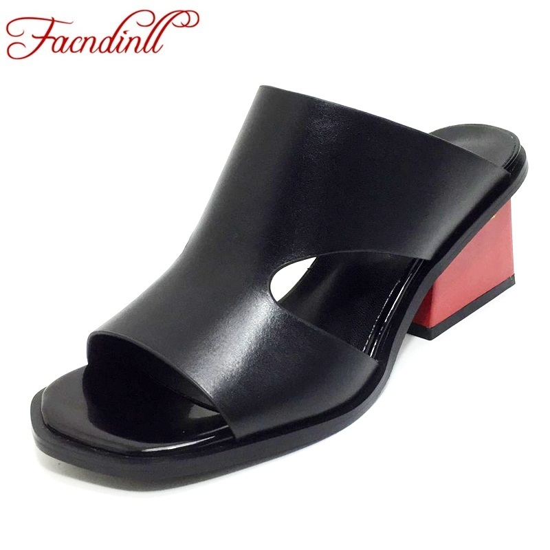 FACNDINLL genuine leather women sandals fashion hot summer shoes woman high heels open toe black white dress casual party shoes facndinll women gneuine leather pumps shoes new fashion spring summer med heels pointed toe shoes woman dress party casual shoes