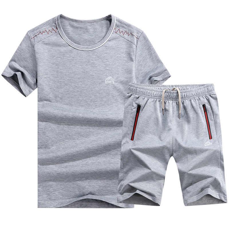 M-6XL メンズトラックスーツセット夏カジュアルスポーツ速乾性セット男性 Tシャツ + ショーツ運動着 2 ピースセットトラックスーツ