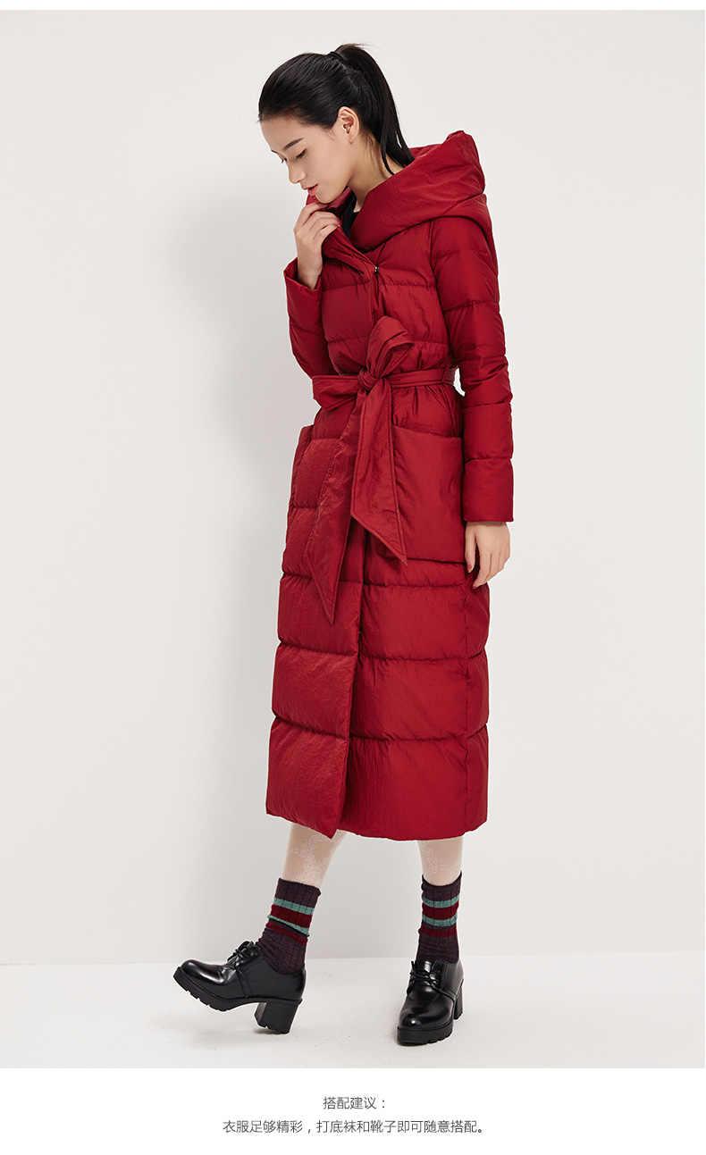 ขนาดใหญ่ Hood เสื้อแจ็คเก็ตยาวผู้หญิงลงเสื้ออบอุ่นฤดูหนาวเสื้อแจ็คเก็ตกับเข็มขัดเอว