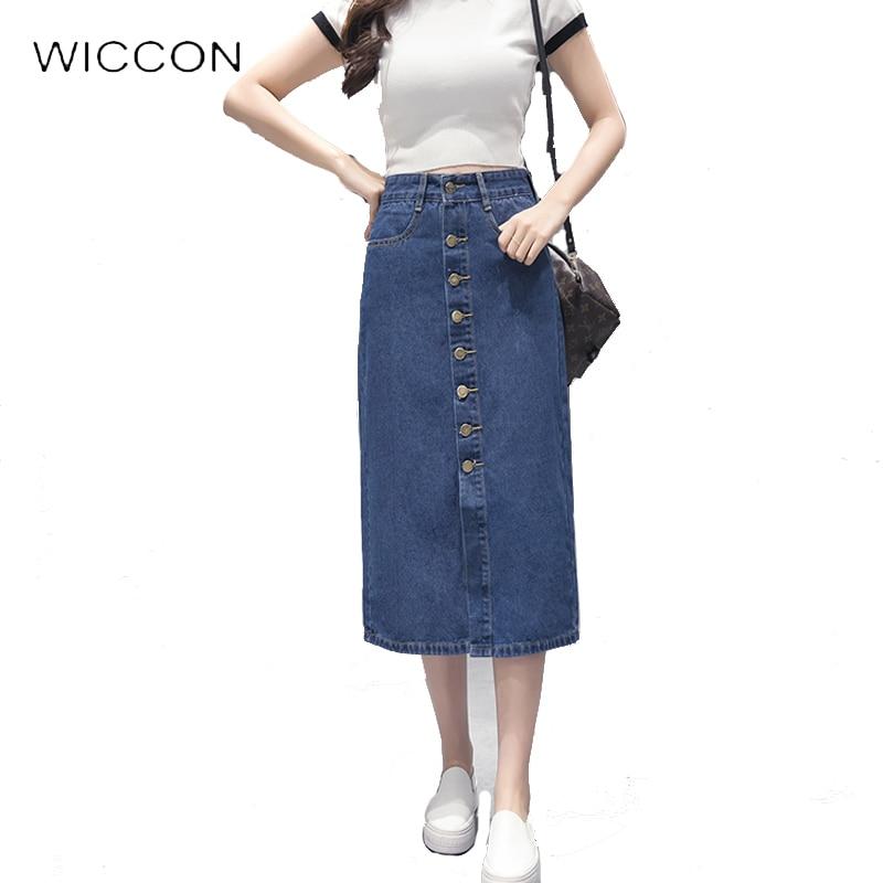 jean skirt summer style high waist a line denim