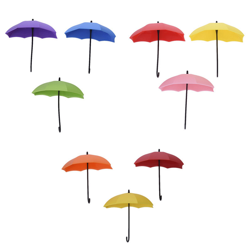 3Pcs Colorful Umbrella Wall Sticky Nail-free Hook Key Hair Pin Holder Organizer Decorative Brand New Home Storage For Sundries