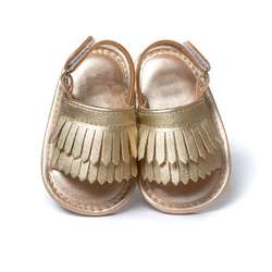 Летняя детская обувь для ползунков из искусственной кожи, для детей обувь принцессы для девочек обувь для кроватки с бахромой без логотипа