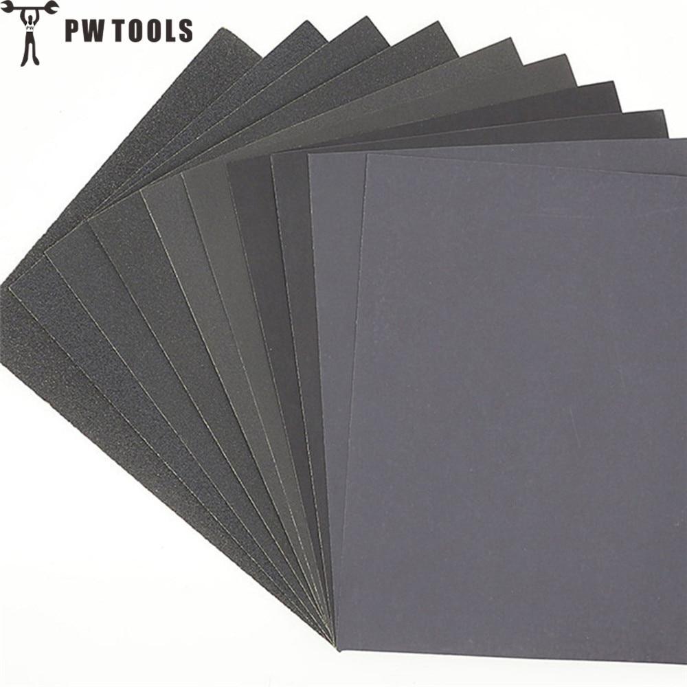 PWTOOLS 5pcs Superfine Sandpaper Brushed Water Sanding Paper Polishing Grinding Tools Grit60 80 120 240 1000 2000 Abrasive Paper
