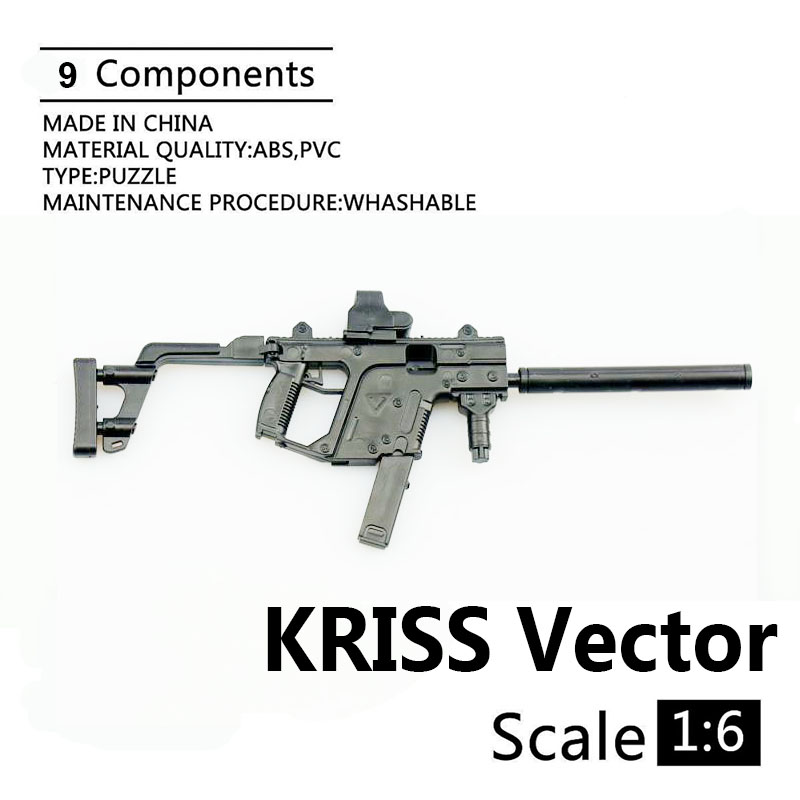 1:6 KRISS Vector Submachine Gun Plastic Assembled Firearm Puzzle Model For 1/6 Soldiers Military Weapons Building Blocks