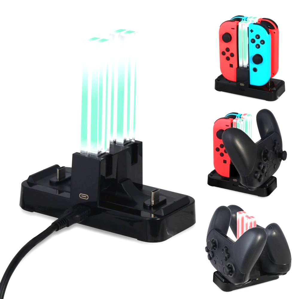 Portable Charging Dock Station Gamepad Charger Dock Desk Tablet JoyStick Charger For Nintendo Switch  NS Joy-Con&Pro Controller 5