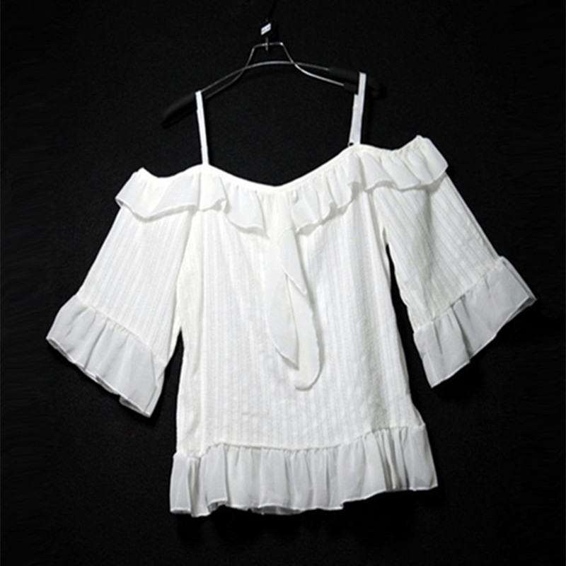 2017 Summer Fashion Cute Crop Tops Off Shoulder Blouse Women 90s Short Sleeve White Ruffle Blouse