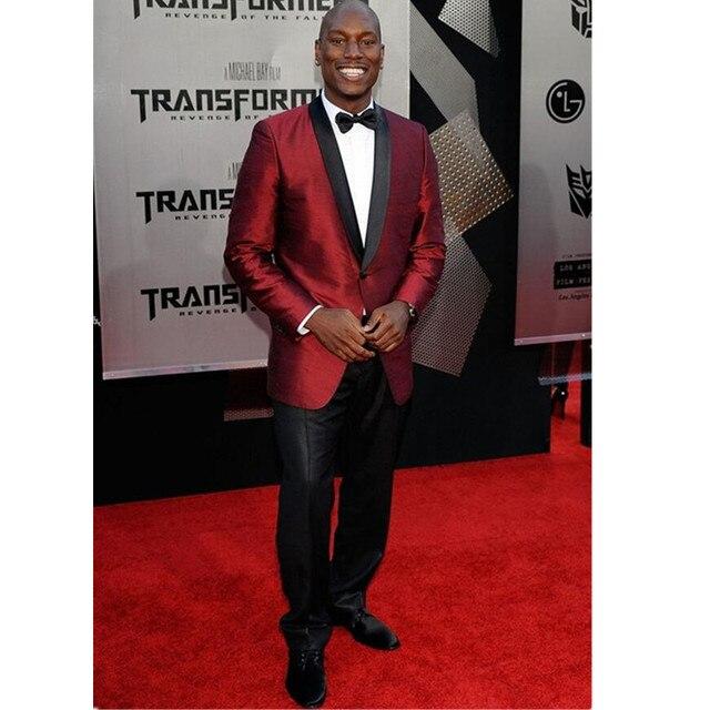 ea5486793158 New Burgundy Suits Black Satin Shawl Lapel Men Suit Jacket Slim Fit Tuxedo 2  Piece Groom Prom Men Blazer (Jacket+Pants)