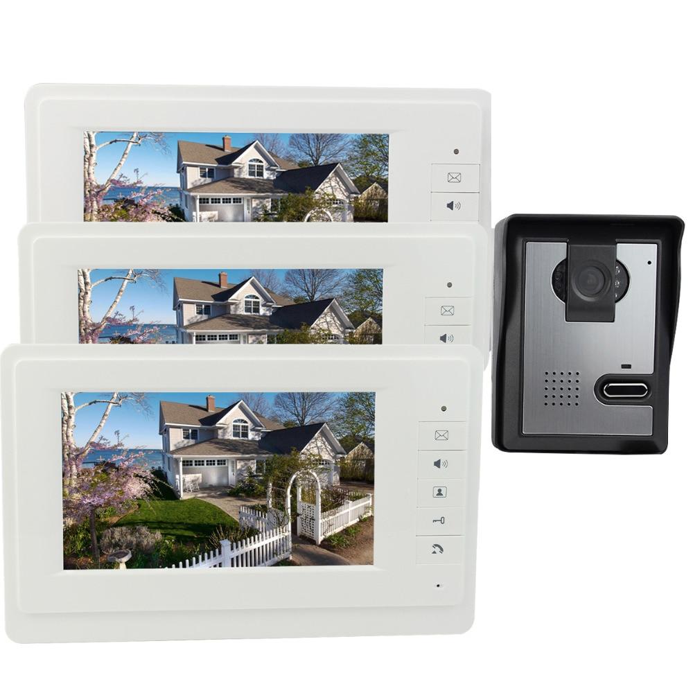 7 Inch Video Door Phone Intercom Doorbell IR Night Vision Camera Monitor for Villa 700TVL Home F4378B