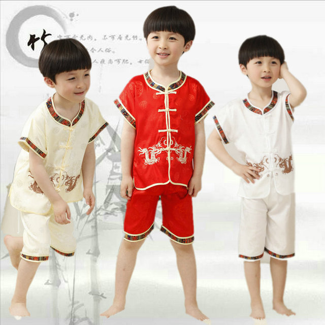 fabb6273c Children Dragon Tang Costume Kids Short Sleeve Kungfu Dance Clothing ...