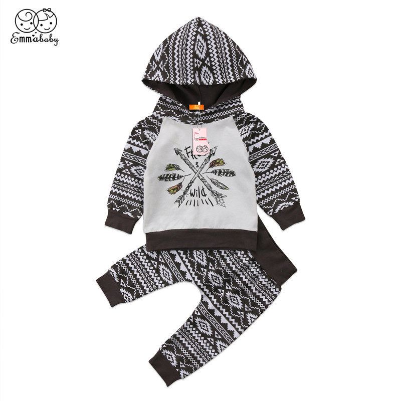 2018 Spring Autumn Clothing Set For Boys Casual Newborn Baby Boy Long Sleeve Stripe Hooded Tops+Geometric Pants 2Pcs Baby Outfit