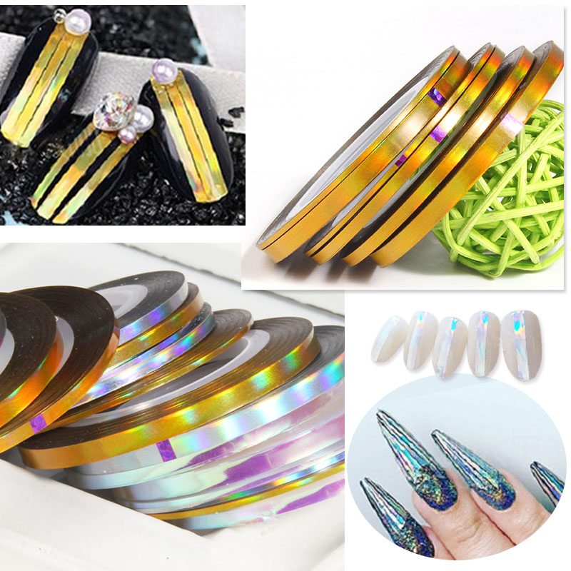 ELESSICAL 6pcs/lot 1mm/2mm/3mm Rolls Nail Striping Tape Nail Art Decorations Line Sticker Decals Polishing For Nails WY816-WY818 10pcs pack 2mm mix colors rolls metallic adhesive striping tape wide line diy nail art tips strip sticker decal decoration kit