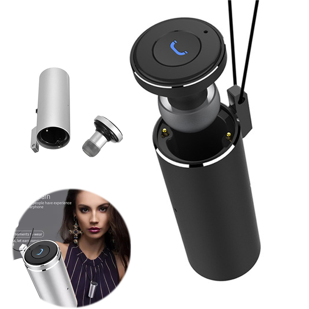 Mini Bluetooth Earphone Necklace Q20 Earbuds With Mic Charger Box Power Bank In Ear Headset Hands Free Call Earpiece For iPhone hands free noise cancelling hidden in ear bluetooth headset mini true wireless earbuds twins with power bank box