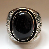 925 sterling silver inlaid with black onyx men vintage Thai silver personality ring