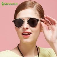 SOOLALA Womens Mens Large Retro Steampunk Round Circle Horm Rim Polarized Aviator Sunglasses Fashion Eyewear