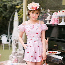 b61dfe0ad109 Princess sweet lolita rompers Candy Rain summer refresh Japanese style cute  princess pink playsuits with bow C16AB6112