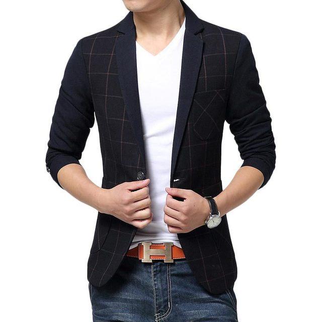 2016 Nueva Llegada de Tela Escocesa de Los Hombres Traje de Diseño de Moda Para Hombre Negro Slim Fit Solo Botón Blazer Chaqueta de Traje Hombres de la Marca Casual escudo