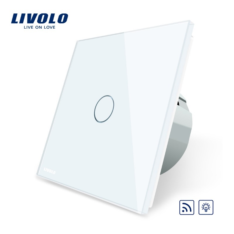 Livolo EU Standard Switch, VL-C701DR-15,Grey Glass Panel, AC 220~250V Remote& Dimmer Function Wall Light Switch(No Remote) livolo eu standard ac 220 250v vl c702wr 32 black crystal glass panel wall remote touch curtain switch no remote controller