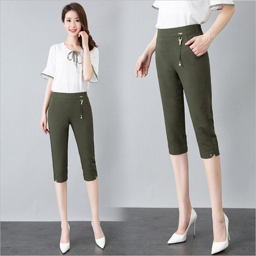 MLCRIYG Summer middle-aged female trousers with elastic slacks tall waist