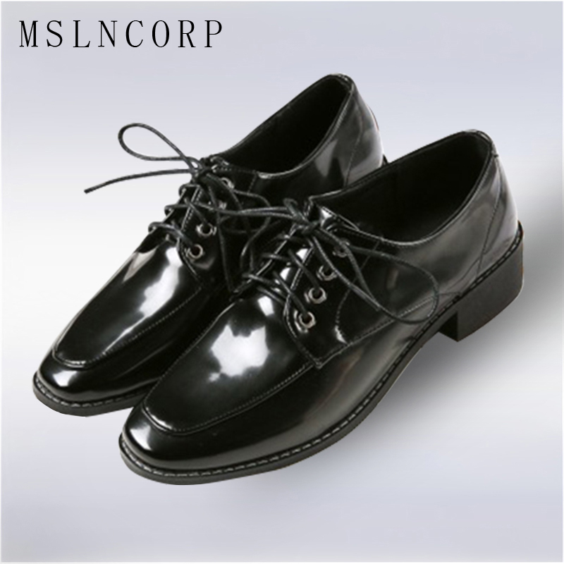 plus size 34-43 Patent Leather Oxford Shoes Flats Fashion Women Shoes Lace Up Casual Moccasins Loafers Ladies Shoe zapatos mujer plus size leather casual shoes handmade mens loafers fashion designer lace up men shoe men s flats breathable spring autumn shoe