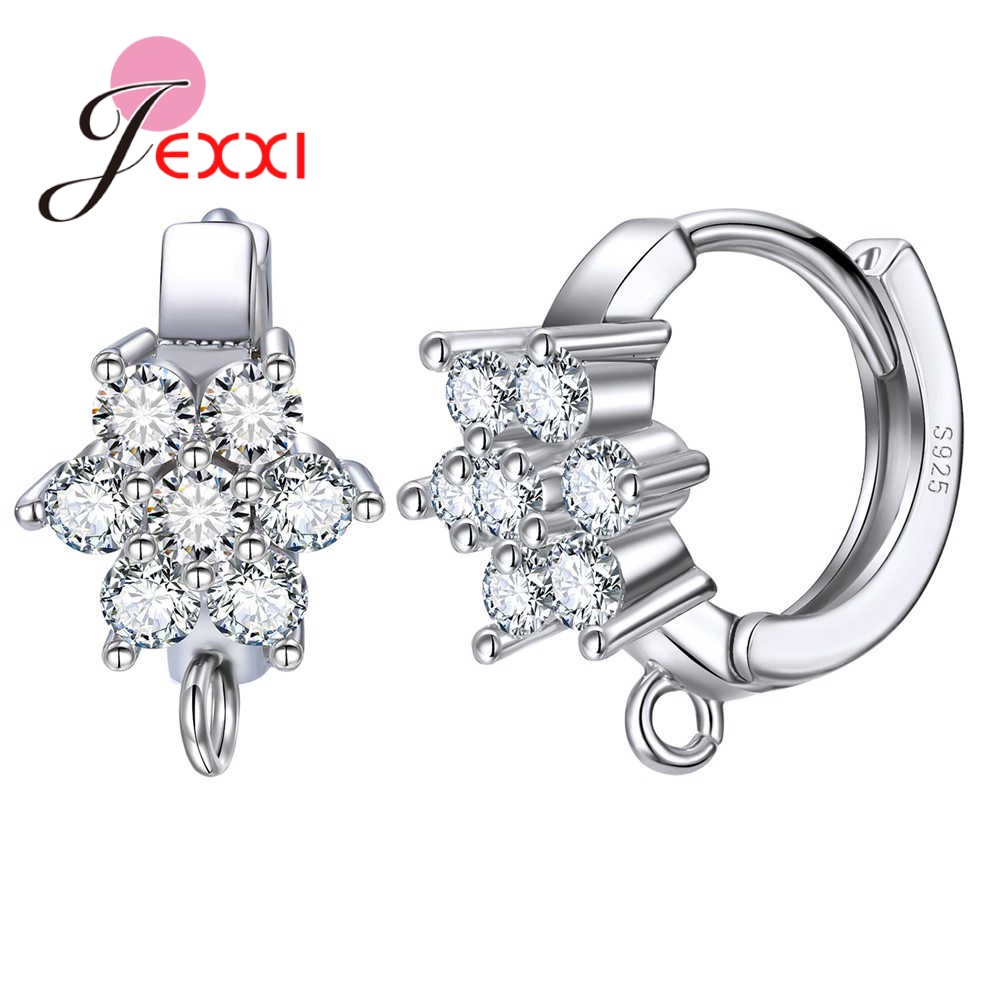 High Quality 925 Sterling Silver 1PRS DIY Hoop Earrings Components With Clear CZ Flowers Women Jewelry Making