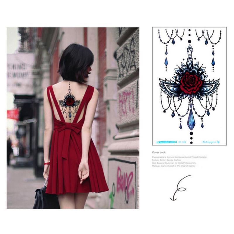 temporary Tattoo Black Waterproof Tattoo Sticker women Men Body Art Arm back Sleeve Tatoos A6 3