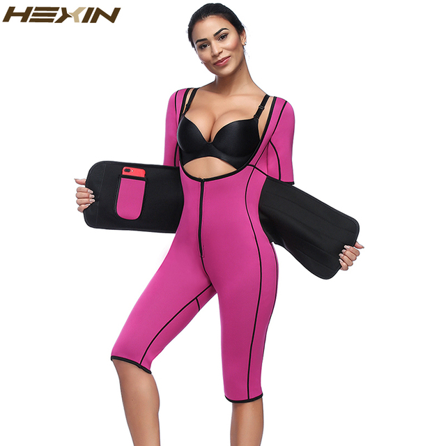 cf79eb480e HEXIN Hot Neoprene Sauna Sweat Full Body Shaper Weight Loss Waist Trainer  Zipper Corsets Women Slimming Shapewear Underwear