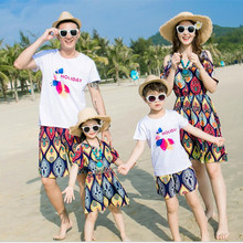 summer 2017 father son matching clothes mother daughter dresses white cotton letters men t-shirt boys shorts girls vintage dress