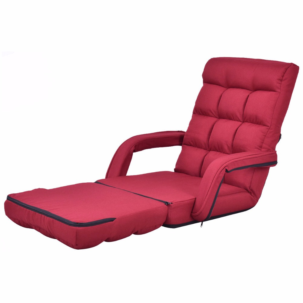 Goplus Folding Lazy Sofa Linen Modern Floor Chair Sofa Lounger Bed with Armrests and Pillow Living Room Chaise Furniture HW56371