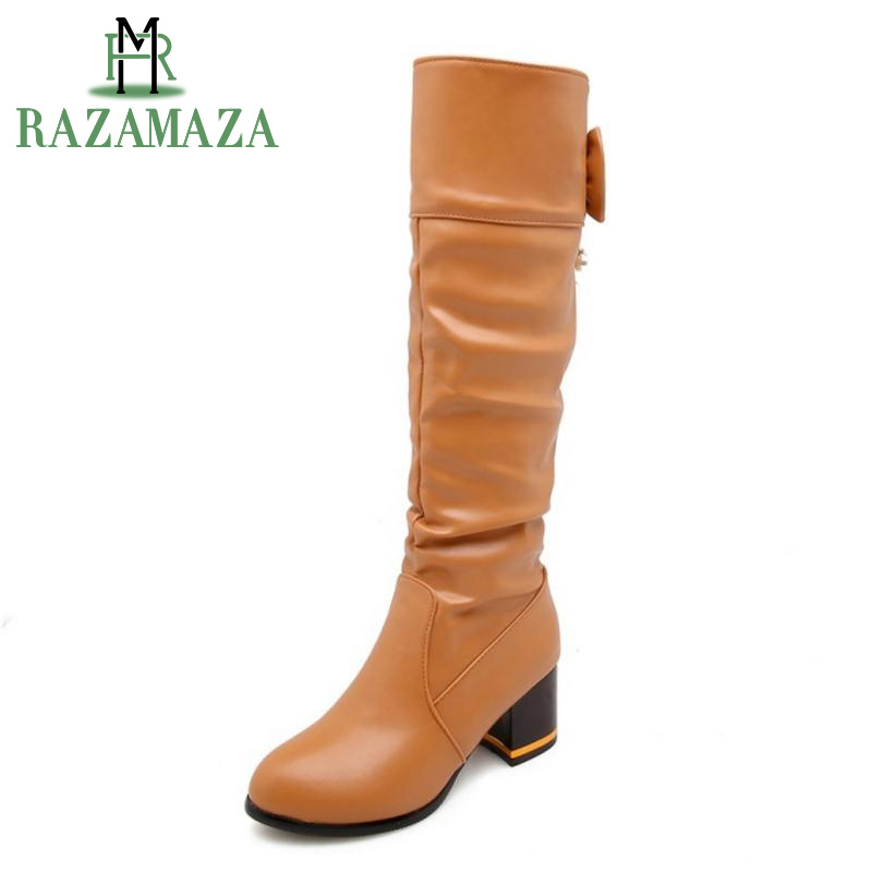 ZALAVOR Size 33 48 Women Knee Boots Winter fur Shoes High Heel Boots Women Fashion Bowtie