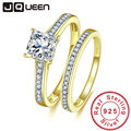 JQueen Yellow Gold Cover 925 Sterling Silver Rings AAA White Cubic Zirconia Real 925 Silver Ring Wedding Rings With gift box