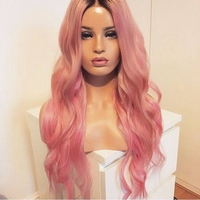 DLME Pink Wig Long Wavy Hair 180% Density Glueless Heat Resistant Synthetic Lace Front Wig With Baby Hair Ombre Wigs For Women