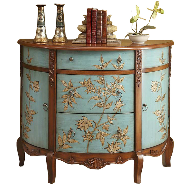 European Idyllic Painting Cabinet Simple American Living Room Decorative Cabinet Cabinet Storage Side Cabinet