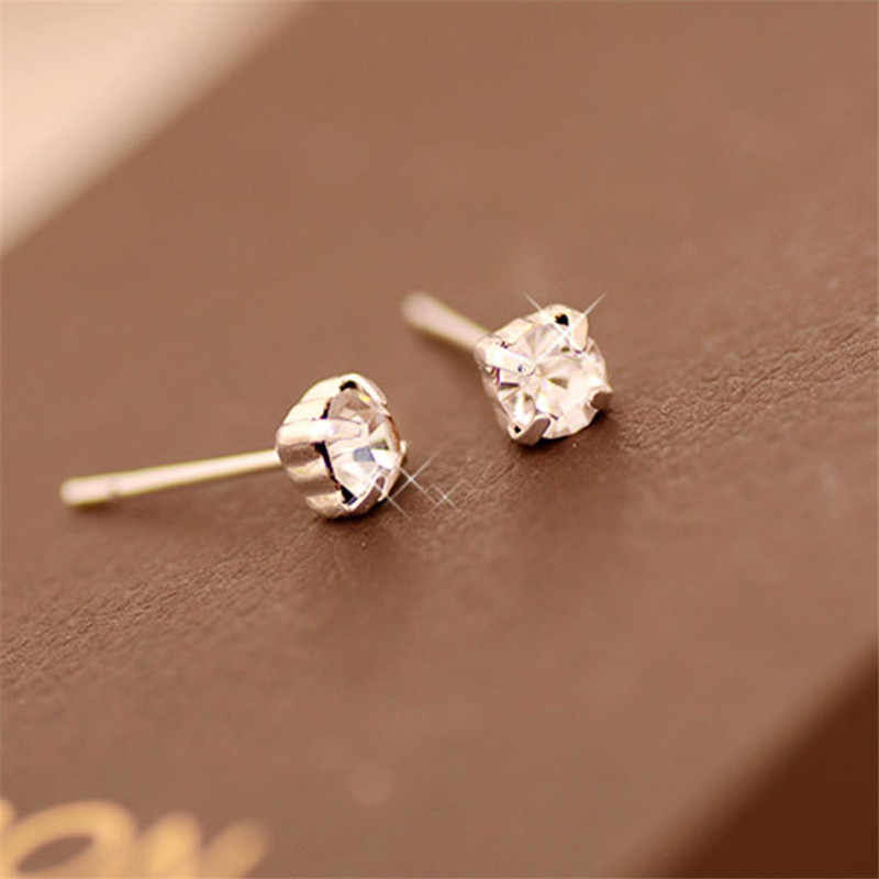 2019 New Korean Fashion crystal cubic zirconia small stud earrings for women Girl Square cute vintage earrings ear cuff jewelry