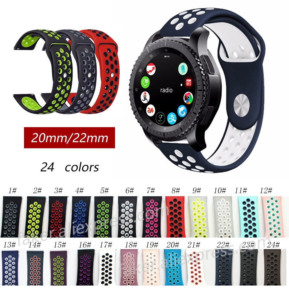 silicone Strap for Samsung Gear S3 S2 sport Frontier Classic Silicone Watch Band xiaomi huami amazfit bip pace lite belt 22 20mm