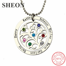 купить SHEON 925 Sterling Silver Birthstone Family Tree Necklace Personalized Mother Necklace Engraved Our Family Name Necklace Jewelry по цене 1733.72 рублей