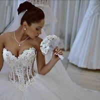 Vestido De Noiva Белый без бретелек романтические свадебные платья бальное платье Жемчуг со шнуровкой сзади Тюль Свадебные платья