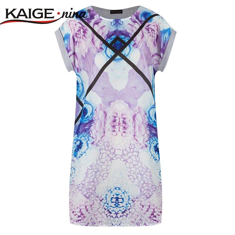 0062b041e22e Summer Style Casual Dress t shirt dress Plus Size Women's Clothing Tropical  Floral Print 100% Cotton t shirt dress vestidos 2122-in Dresses from Women's  ...