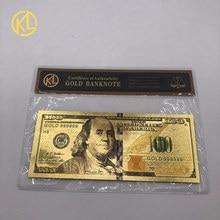 1 шт., американский размер 100 долларов США, Золотая 999999 Банкнота с сумкой COA для ценной коллекции сувениров