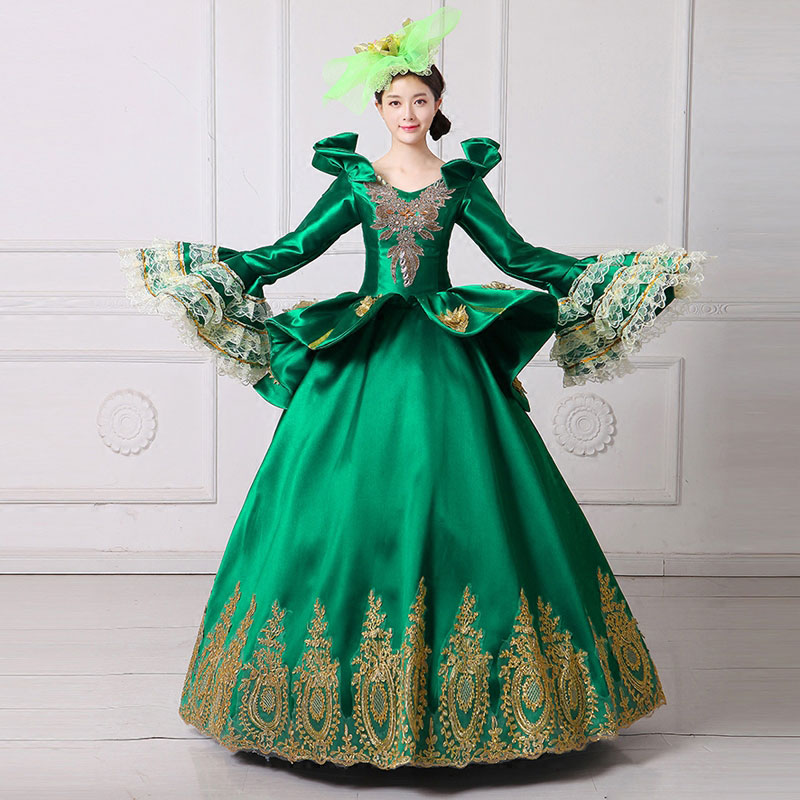 18th Partie 2018 Col Marie Picture Flare Antoinette As Carré Broderie Picture Bal Manches Robe Vert Long Robes De Vampire as Siècle Royal nqAvS