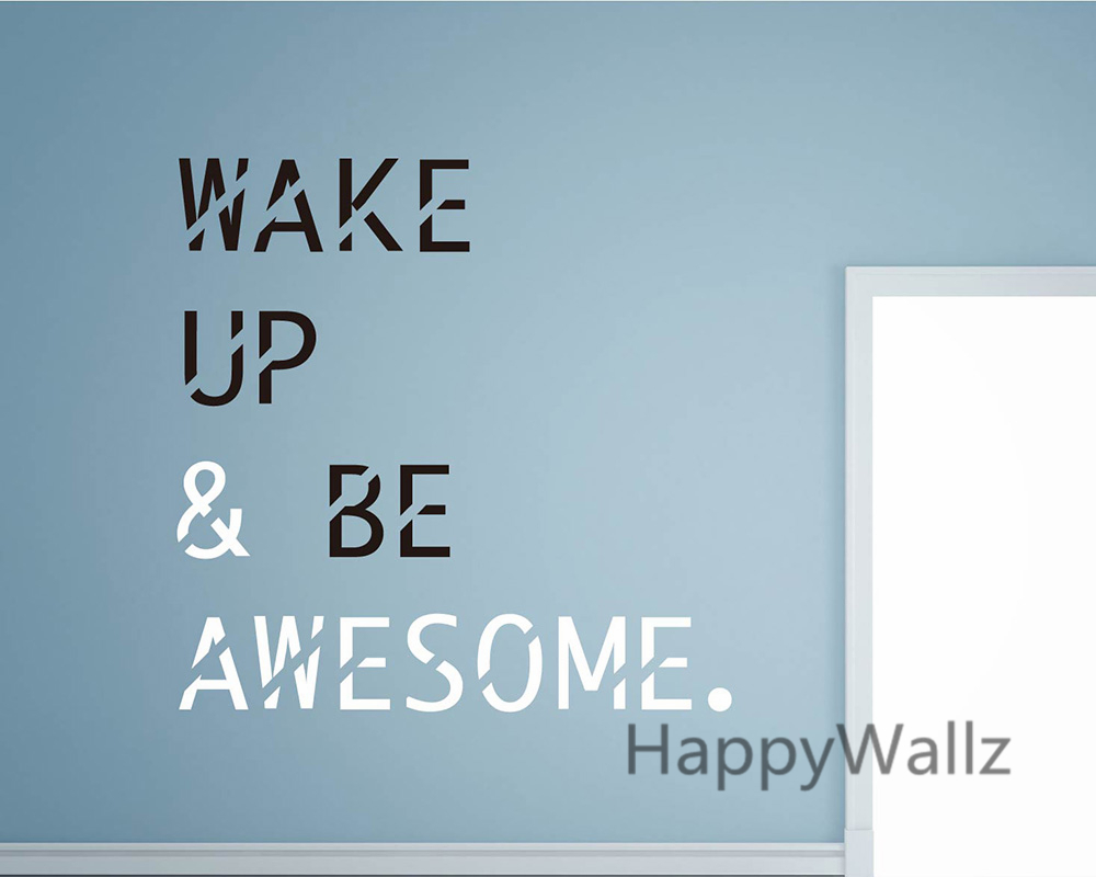 wallpapers for office. wake up be awesome motivational quotes wall sticker diy inspirational quote decals decorative wallpaper wallpapers for office